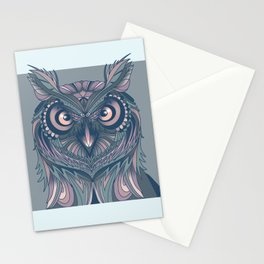 Owl lovers illustration// Penetrating  Eyes Stationery Cards