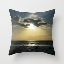 E ala mai o loko i ke kuhohonu o ke Aloha Kamaole Beach Throw Pillow