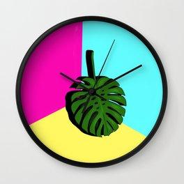 Block Colour monstera Wall Clock