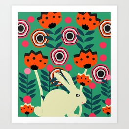 Little bunny in spring Art Print