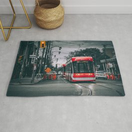 Storms and Streetcars At Danforth Ave and Broadview Ave, Toronto Cityscape Photograph Rug