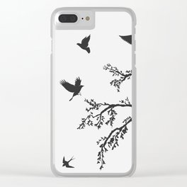 flock of flying birds on tree branch Clear iPhone Case