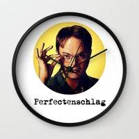 dwight schrute Wall Clocks featuring Perfectenschlag  |  Dwight Schrute by Silvio Ledbetter