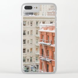 Upper West Side Snow Globe - NYC Photography Clear iPhone Case