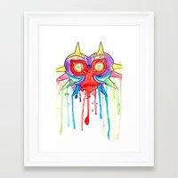 majoras mask Framed Art Prints featuring Majoras Mask Splatter by ysocrazeh