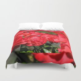 Flowerheads of red roses Duvet Cover