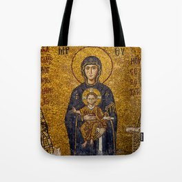 Mosaic Mary and Jesus Tote Bag