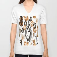baroque V-neck T-shirts featuring Baroque music by Carolina Duran