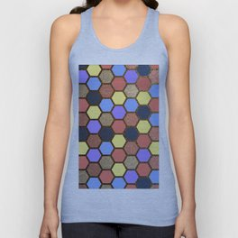 Colorful Beehive Hexagon Grid Unisex Tank Top