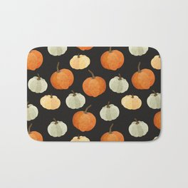 Orange yellow gray black watercolor pumpkin pattern Bath Mat