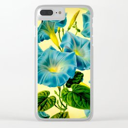 Blue Morning Glories Clear iPhone Case