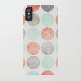 Circles (Mint, Coral & Gray) iPhone Case