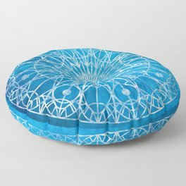 Rosette Window - Cyan Floor Pillow