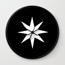 White Eight Pointed Star Wall Clock