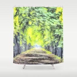 Forest Path Watercolour Shower Curtain