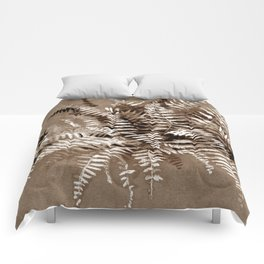Fern, floral art, brown scale, monochrome Comforters