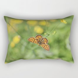 Small pearl-bordered fritillary and buttercups Rectangular Pillow