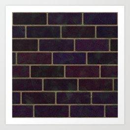 Grunge Purple Brickwork Art Print