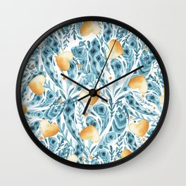 Hand painted blue yellow watercolor bohemian feathers hearts Wall Clock