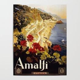 Vintage Italian 1930s Travel Poster- Amalfi Coast Poster
