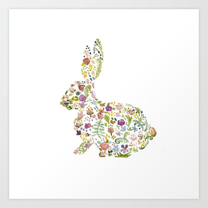 Springtime Flower Bunny Art Print