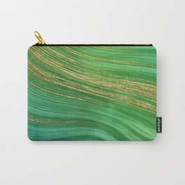 Green Mermaid Glamour Marble With Gold Veins Carry-All Pouch