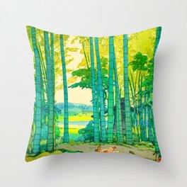 Yoshida Hiroshi Bamboo Grove Vintage Japanese Woodblock Print Bright Green Bamboo Landscape Forest Throw Pillow