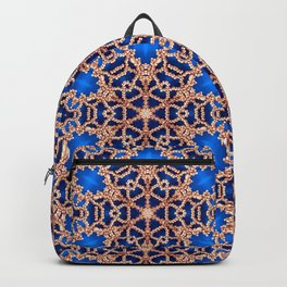 Blue and Gold Beadwork Inspired Print Backpack