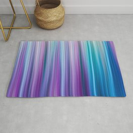 Abstract Purple and Teal Gradient Stripes Pattern Rug