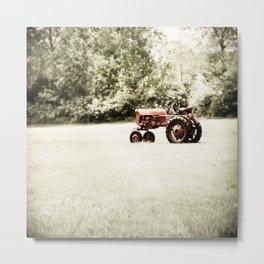 Vintage Red Tractor Metal Print