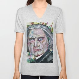 FRANZ LISTZ - watercolor portrait.1 Unisex V-Neck
