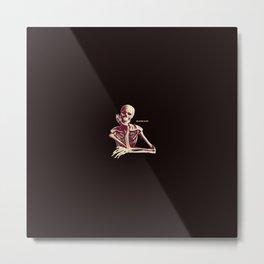 Skeleton Waiting Metal Print