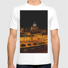 Lisbon by night MEDIUM Mens Fitted Tee White