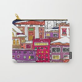 Winter town with falling snow. Carry-All Pouch