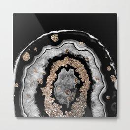 Gray Black White Agate with Gold Glitter on Black #1 #gem #decor #art #society6 Metal Print