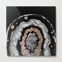 Gray Black White Agate with Gold Glitter on Black #1 #gem #decor #art #society6 Metal Print