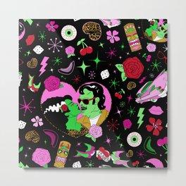 Rockabilly Monster Luau in Black + Pink Metal Print