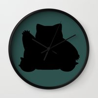 snorlax Wall Clocks featuring Snorlax Silhouette by Jessica Wray
