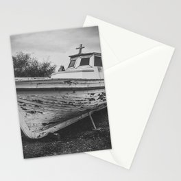 Old boat digital oil black and white painting Stationery Cards