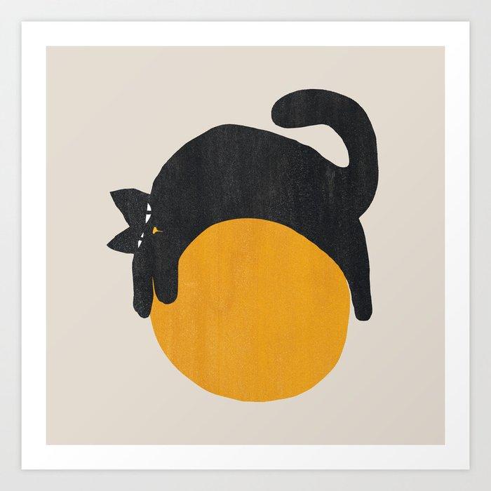 Cat with ball Art Print
