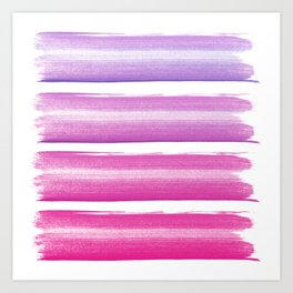 Simply hand painted pink and magenta stripes on white background  2 - Mix and Match Art Print