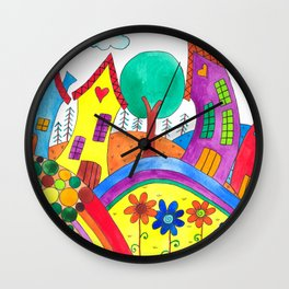 A Happy Town Wall Clock