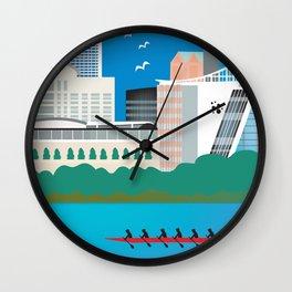 Hartford, Connecticut - Skyline Illustration by Loose Petals Wall Clock