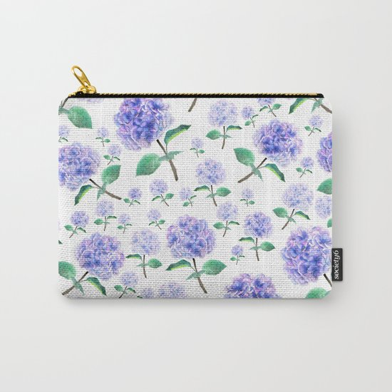 purple blue hydrangea pattern Carry-All Pouch