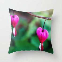 Two Hearts, Bleeding Hearts Flowers Throw Pillow