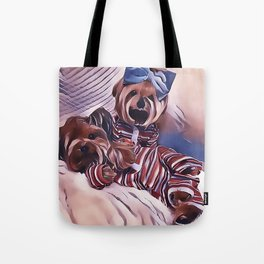 2 Yorkies Getting Ready For Bed Tote Bag