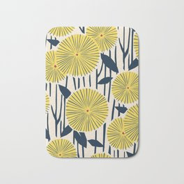 vintage, retro yellow, red and navy flower pattern Bath Mat