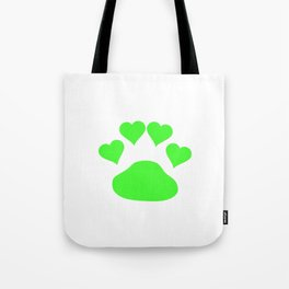 Neon Green Dog Paw Love Hearts Tote Bag