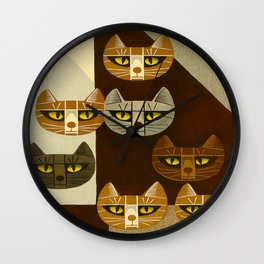 Cat Pattern Japanese, Cat, Cubism, Woodblock Print, Cherry Blossom, Midcentury, Modern Wall Clock