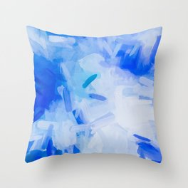 splash painting texture abstract background in blue Throw Pillow